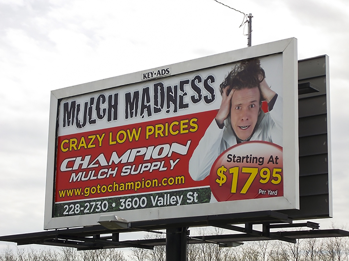 30-Sheet Poster displaying Champion Mulch Supply ad.