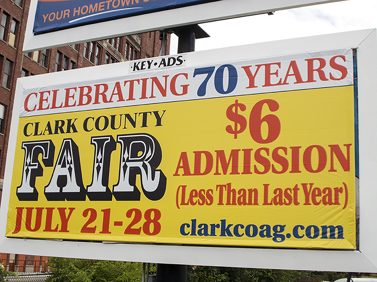 Junior Poster displaying Clark County Fair ad.